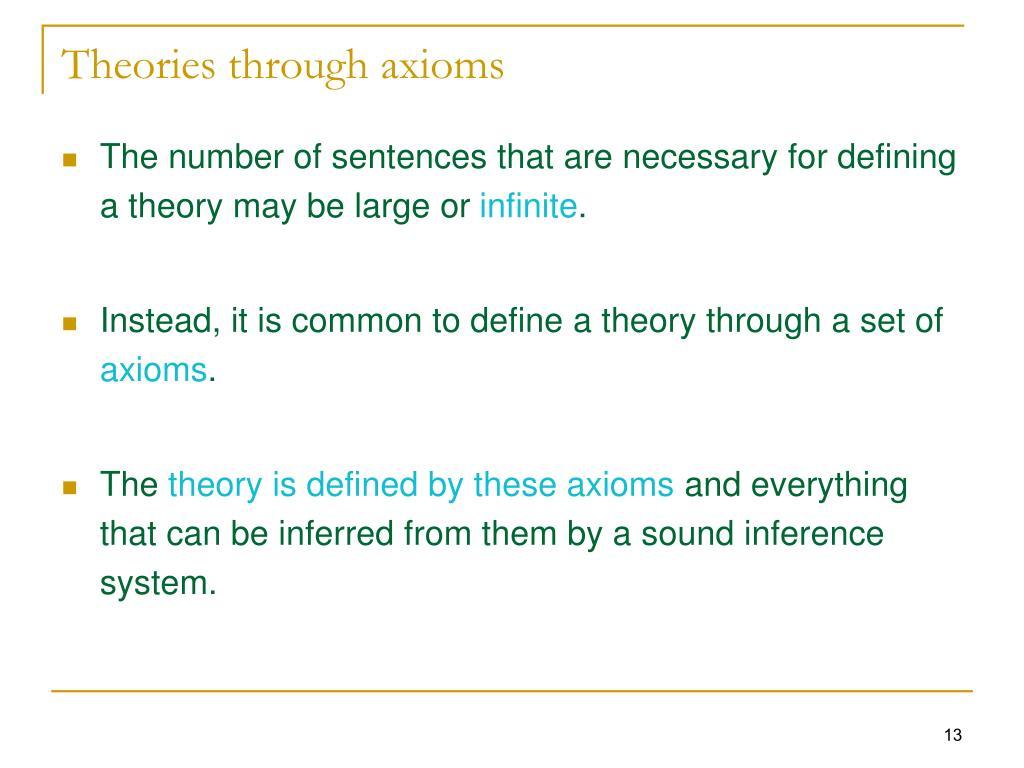 Theories through axioms