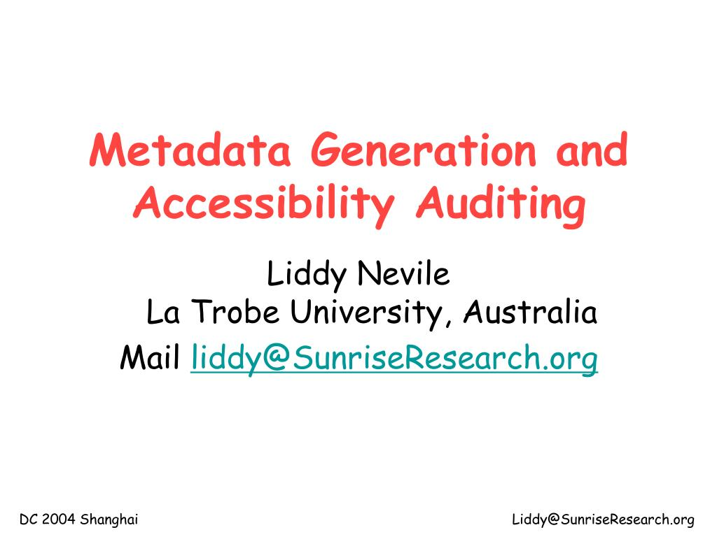 metadata generation and accessibility auditing l.