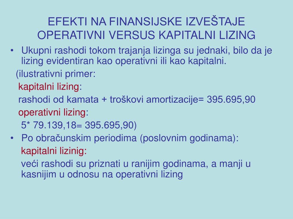 EFEKTI NA FINANSIJSKE IZVEŠTAJE