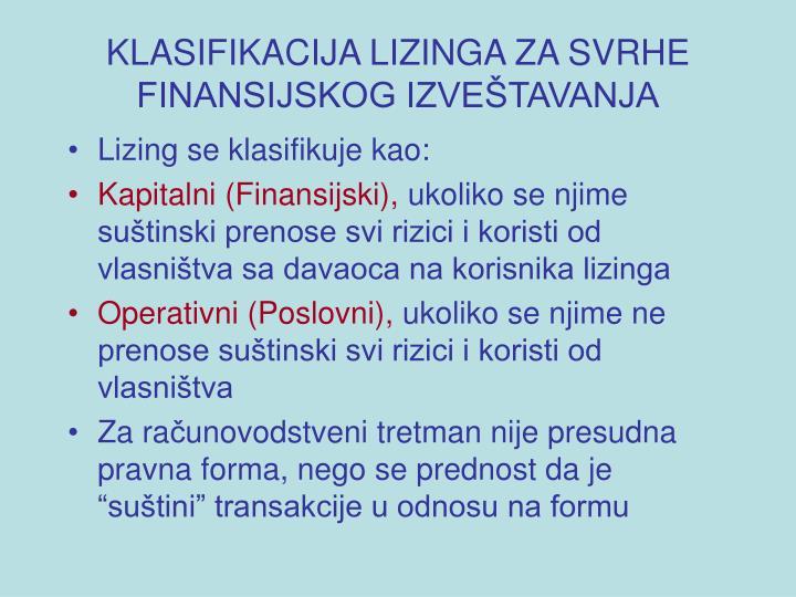 Klasifikacija lizinga za svrhe finansijskog izve tavanja