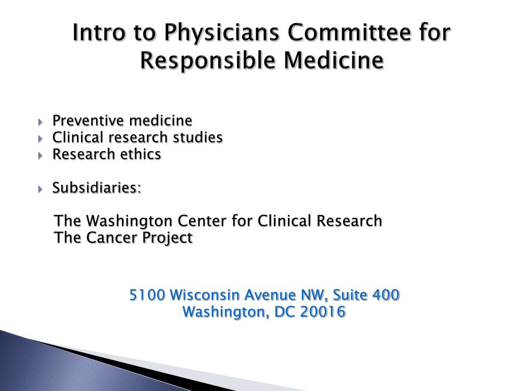 Intro to Physicians Committee for Responsible Medicine