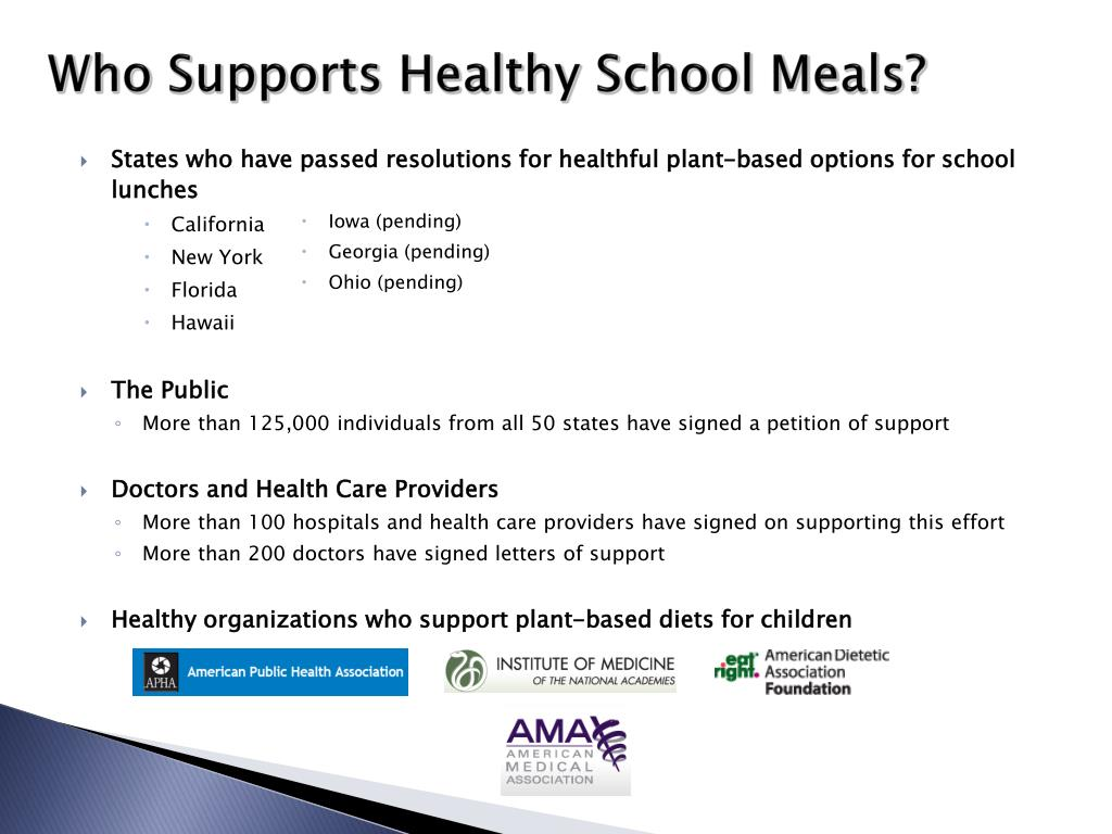 Who Supports Healthy School Meals?