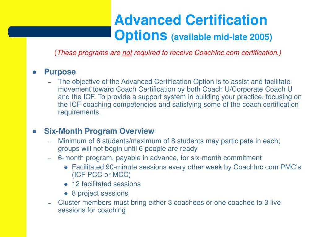Advanced Certification Options