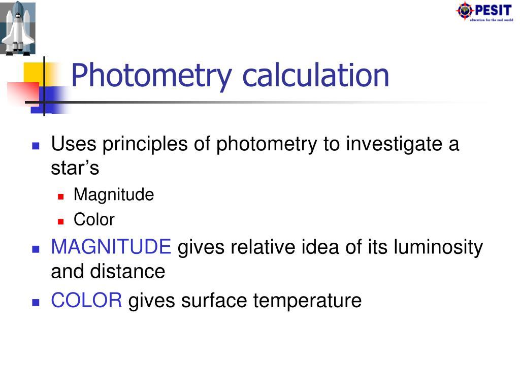 Photometry calculation