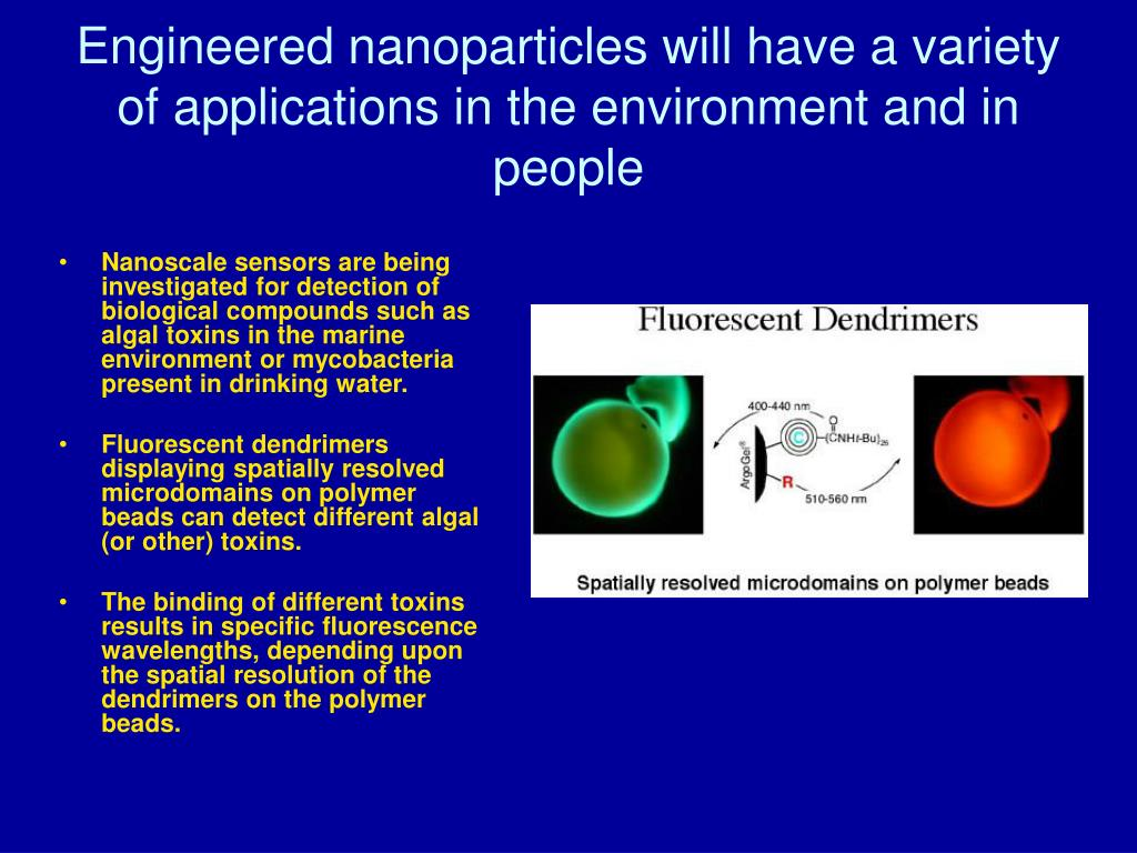 Engineered nanoparticles will have a variety of applications in the environment and in people