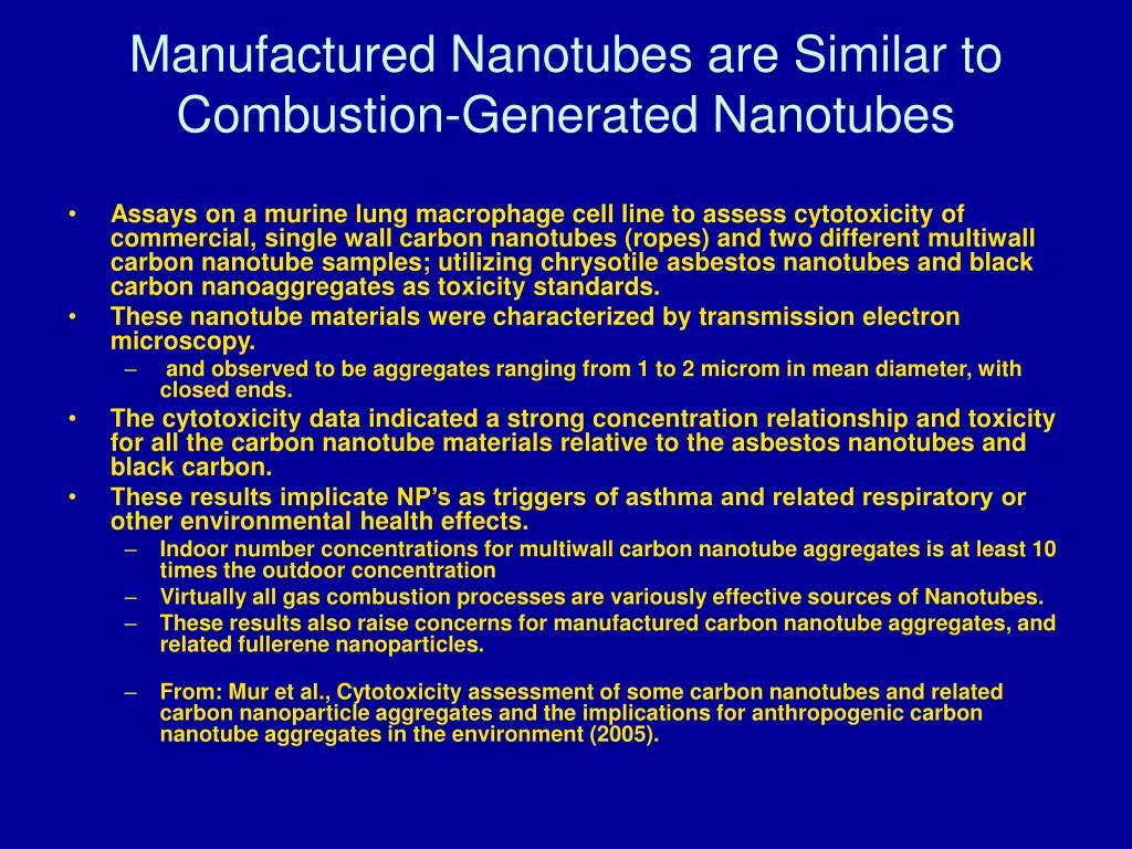 Manufactured Nanotubes are Similar to Combustion-Generated Nanotubes
