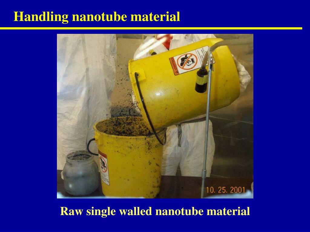 Handling nanotube material