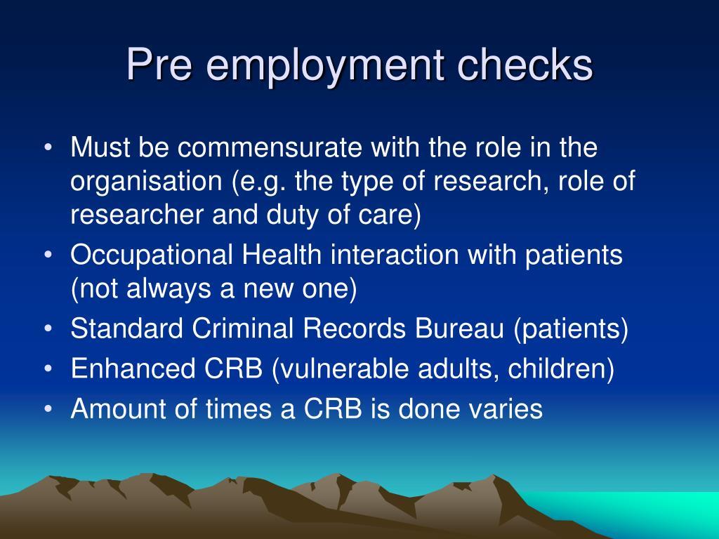 Pre employment checks