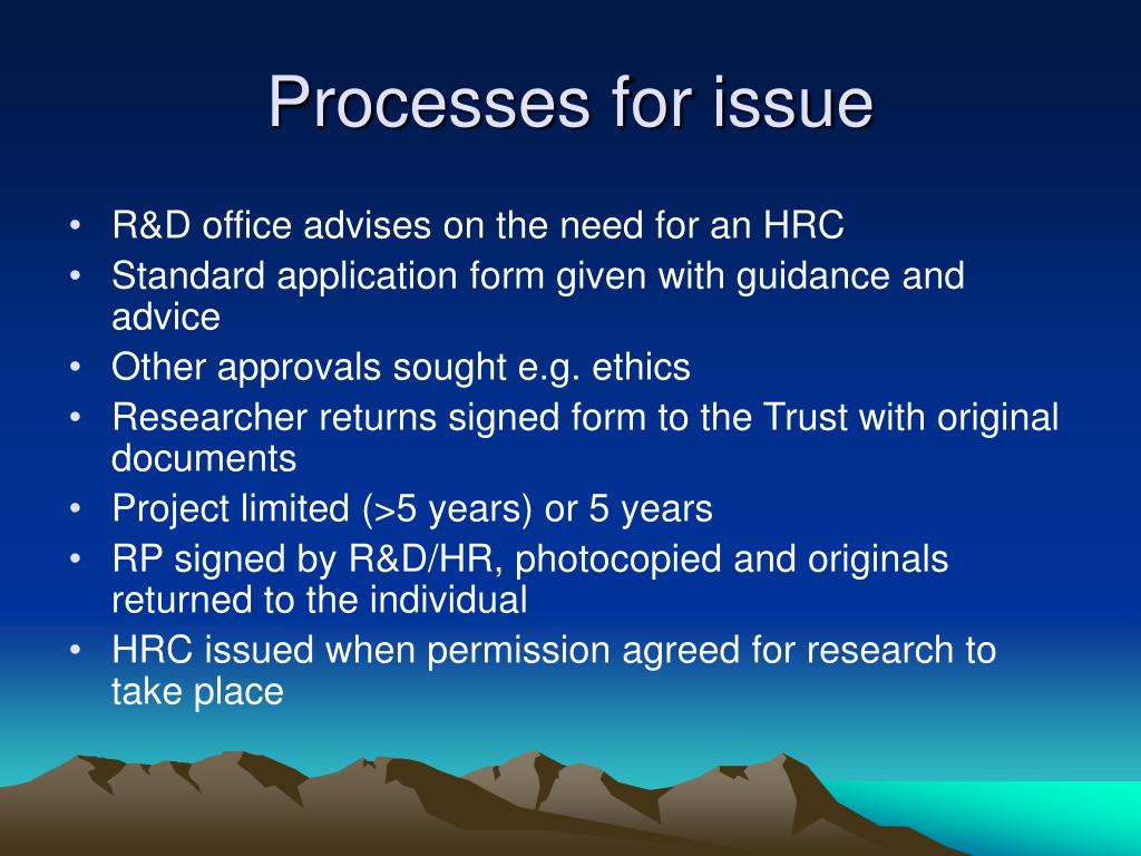 Processes for issue