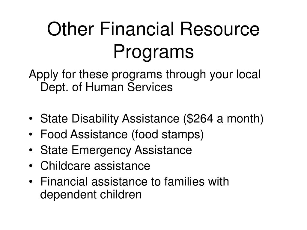 Other Financial Resource Programs