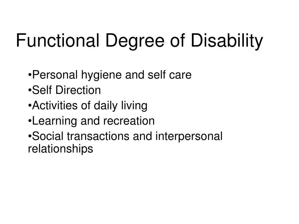 Functional Degree of Disability