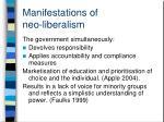 manifestations of neo liberalism