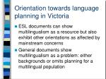 orientation towards language planning in victoria