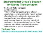environmental group s support for marine transportation