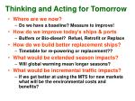 thinking and acting for tomorrow