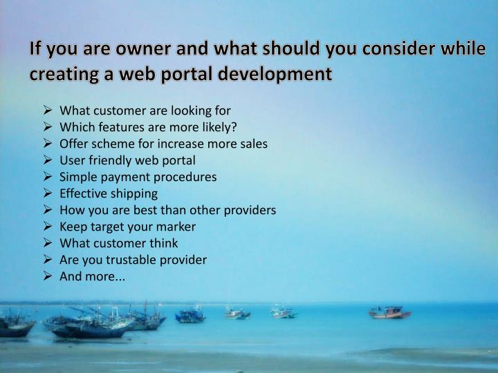 If you are owner and what should you consider while creating a web portal