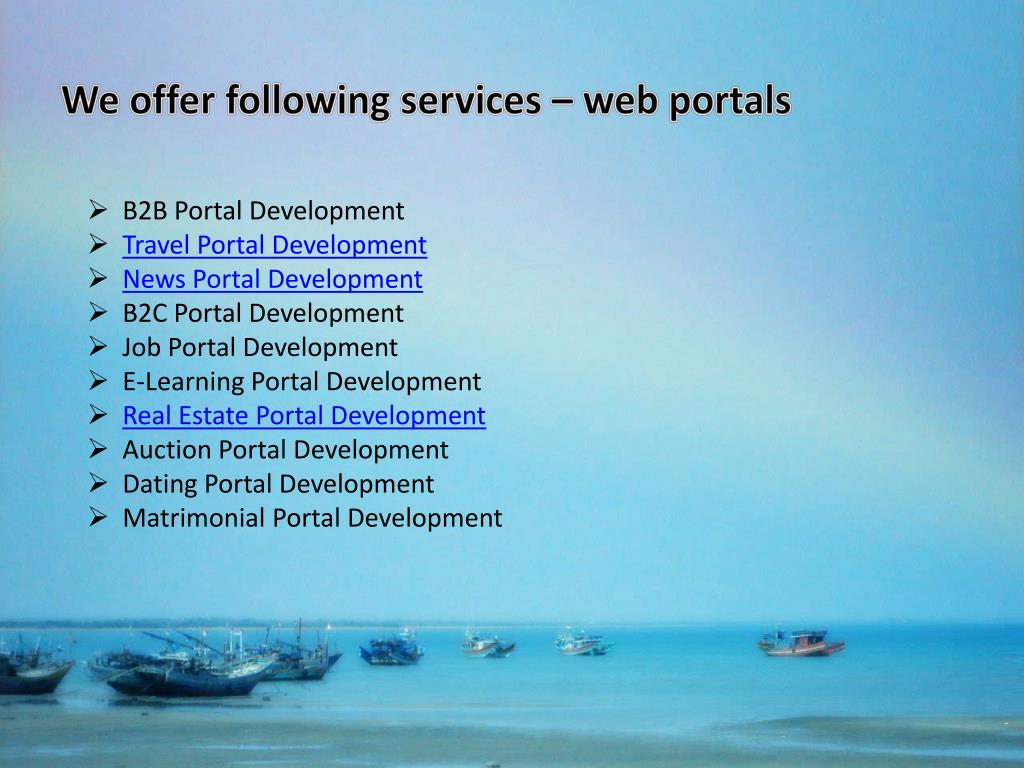 We offer following services – web portals