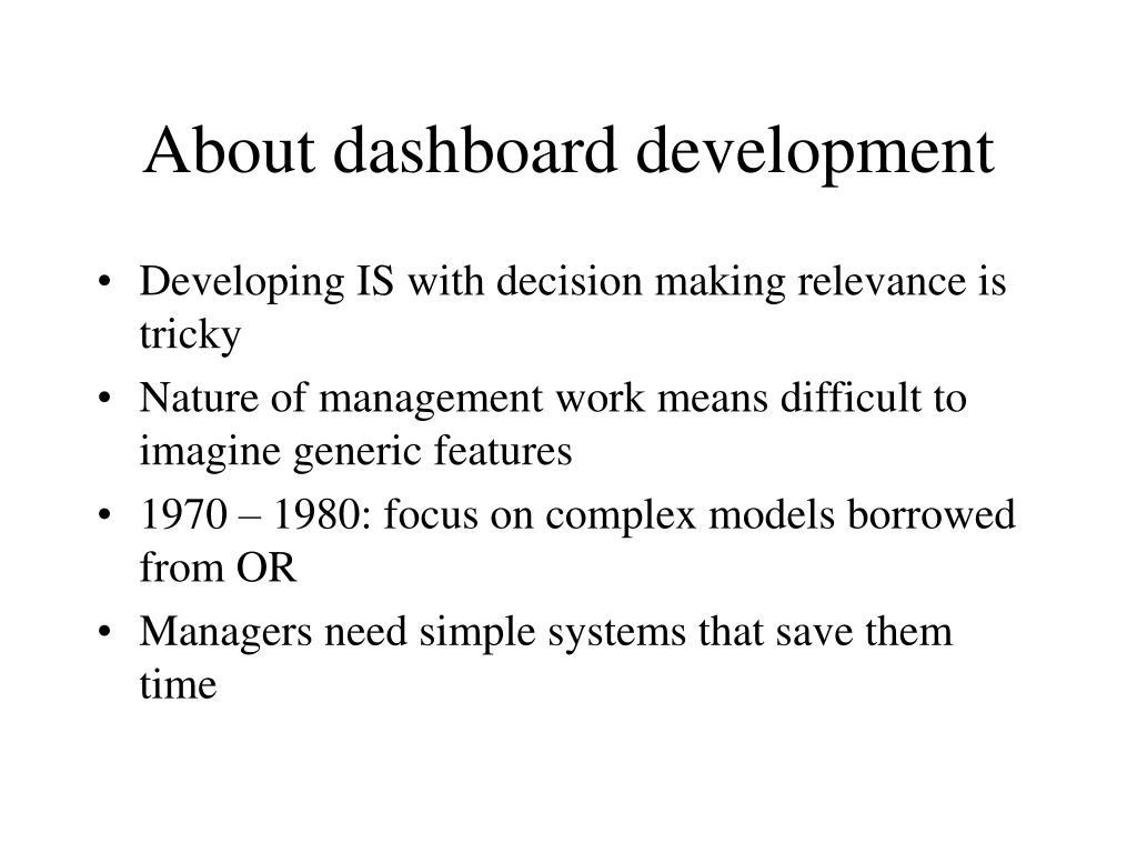 About dashboard development
