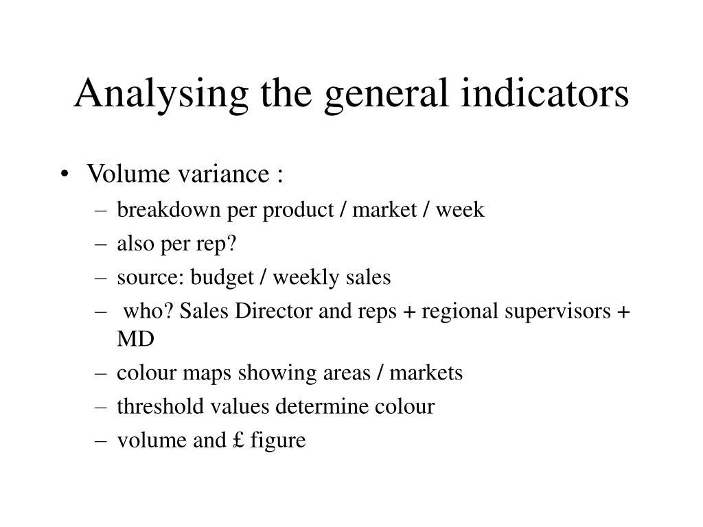 Analysing the general indicators