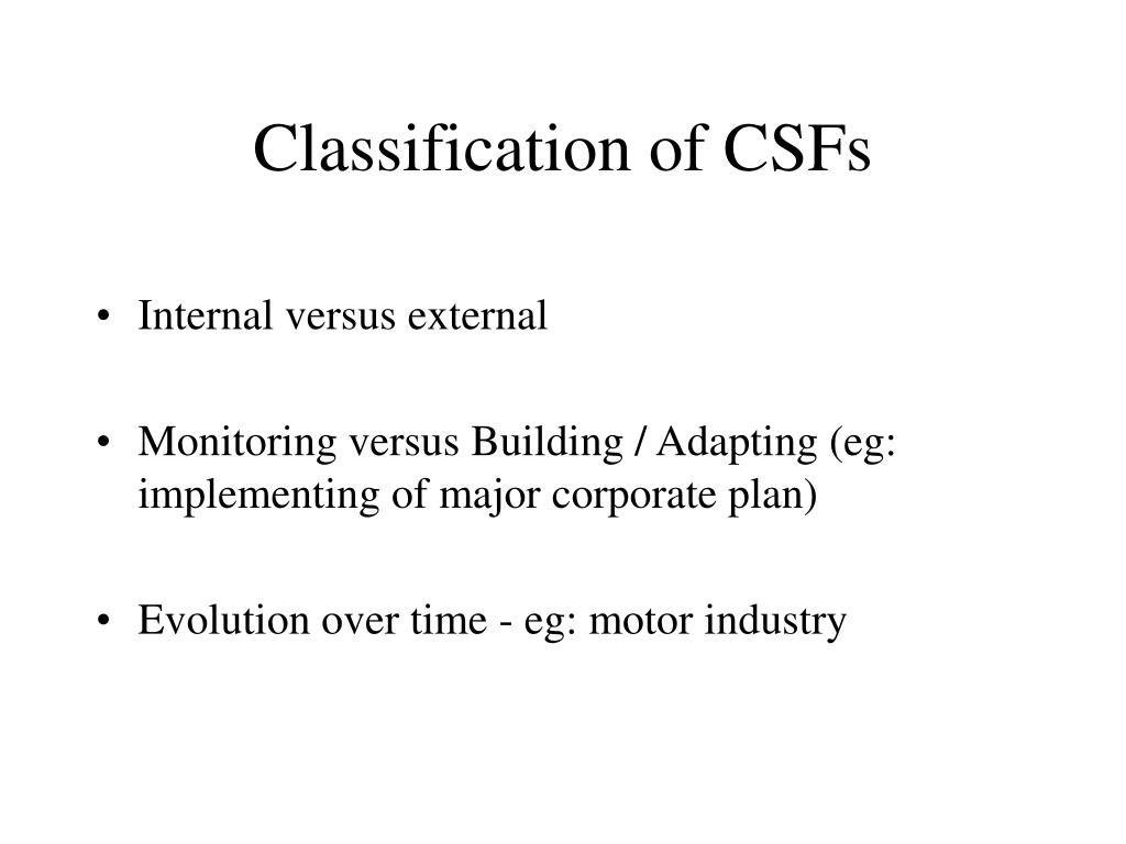 Classification of CSFs