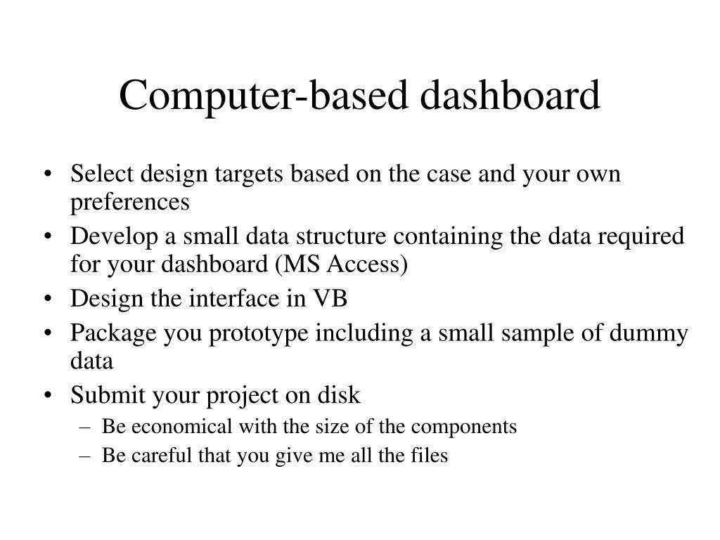 Computer-based dashboard