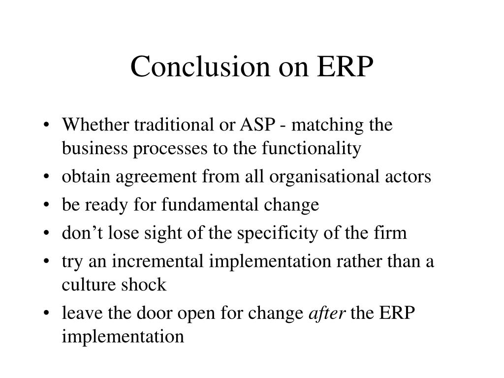 Conclusion on ERP