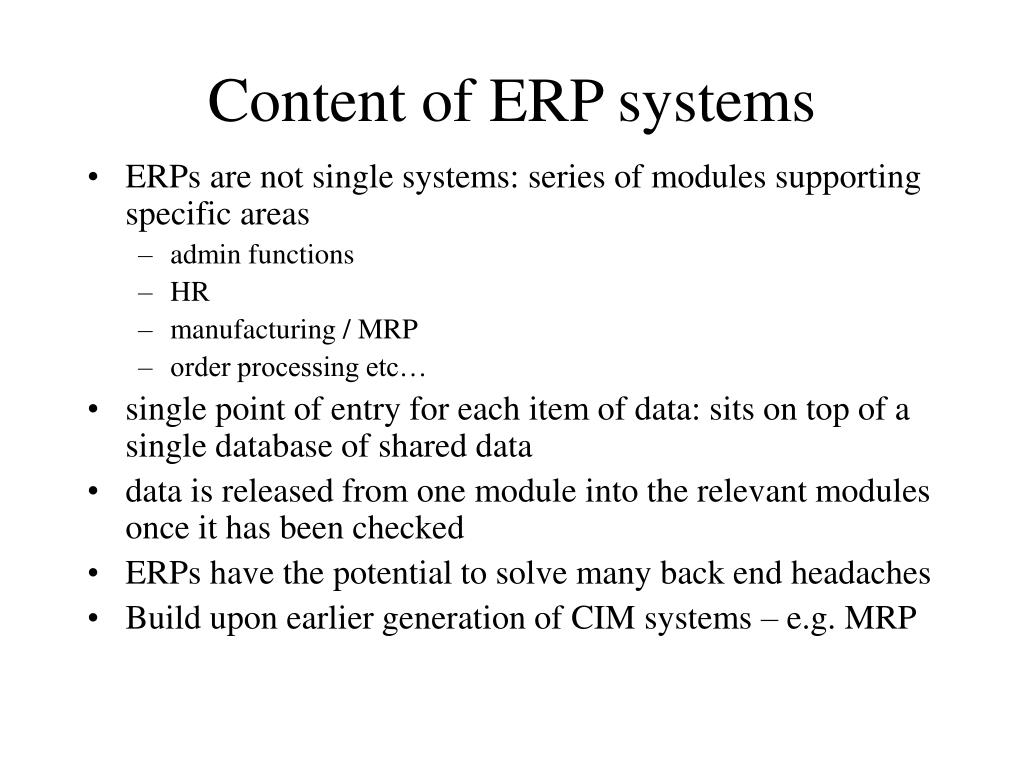 Content of ERP systems