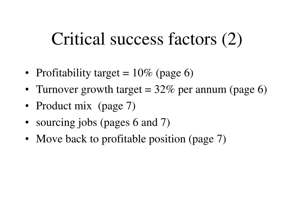 Critical success factors (2)
