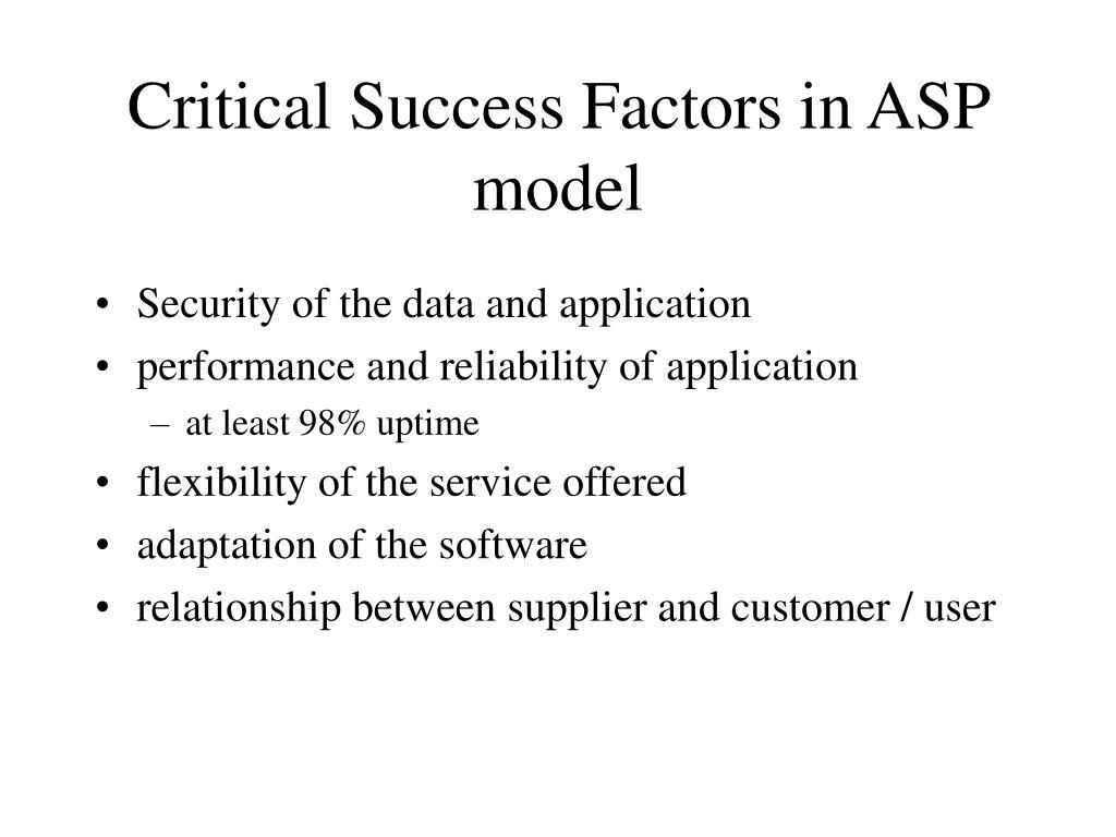Critical Success Factors in ASP model