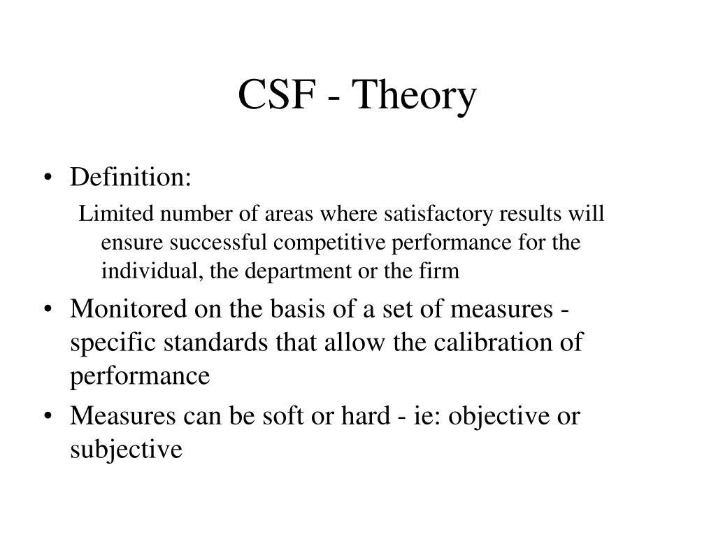 CSF - Theory