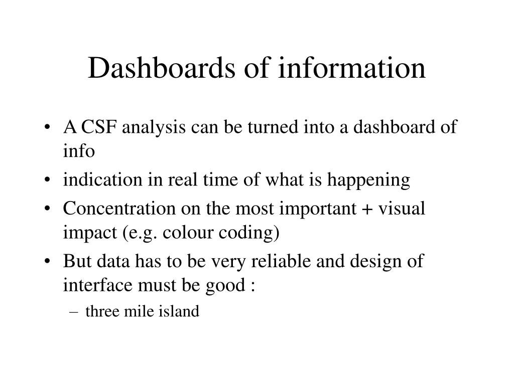 Dashboards of information