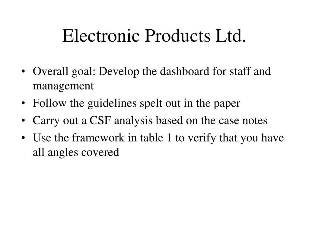 Electronic Products Ltd.