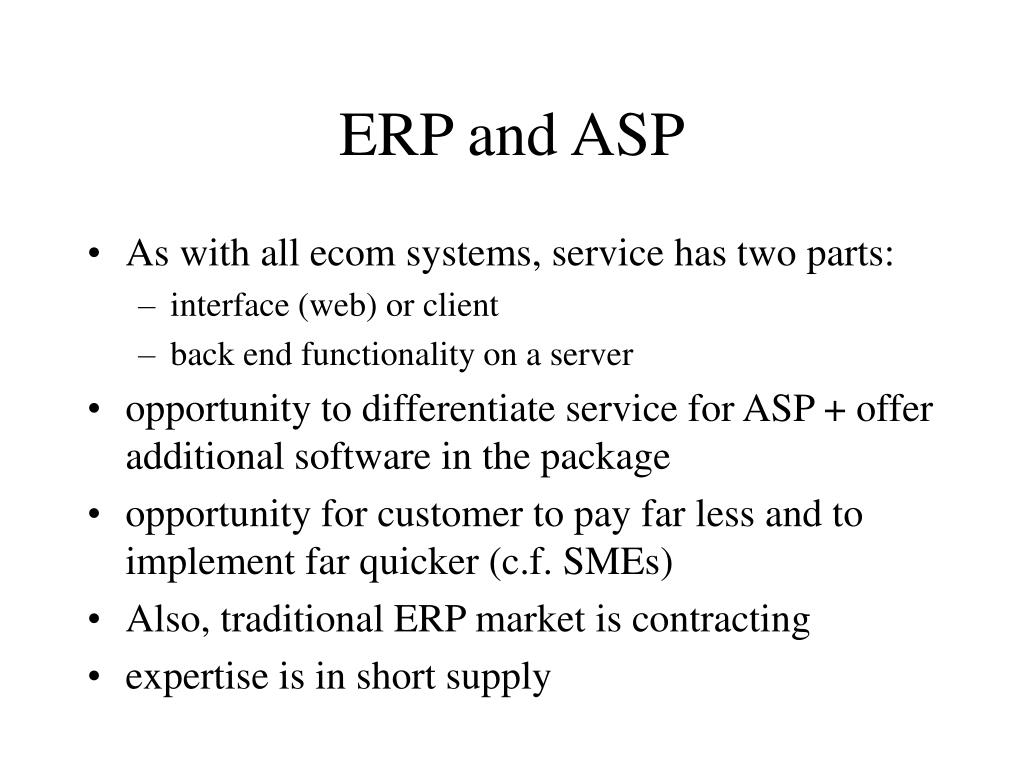 ERP and ASP