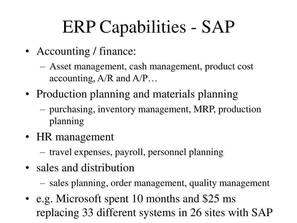 ERP Capabilities - SAP