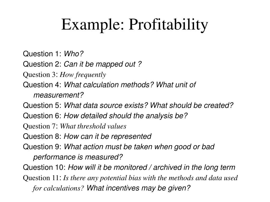 Example: Profitability