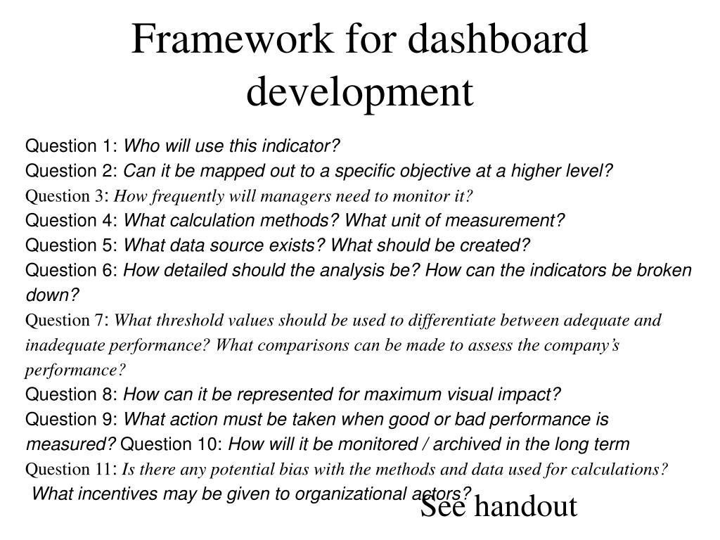 Framework for dashboard development