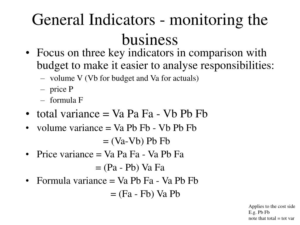 General Indicators - monitoring the business