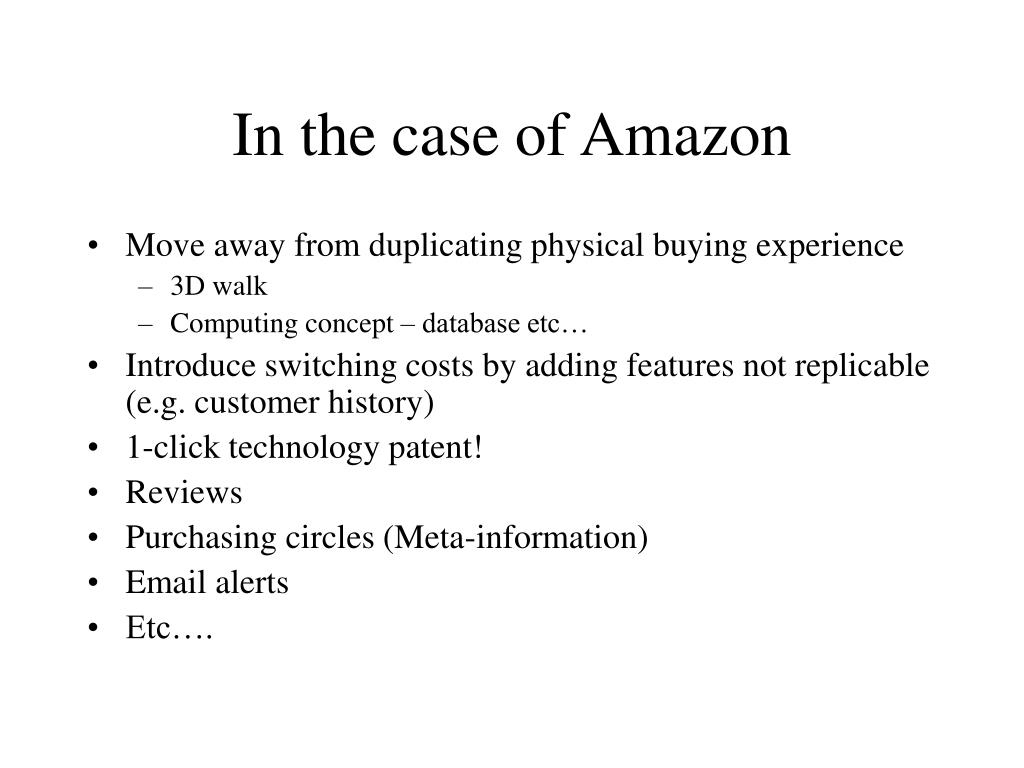 In the case of Amazon