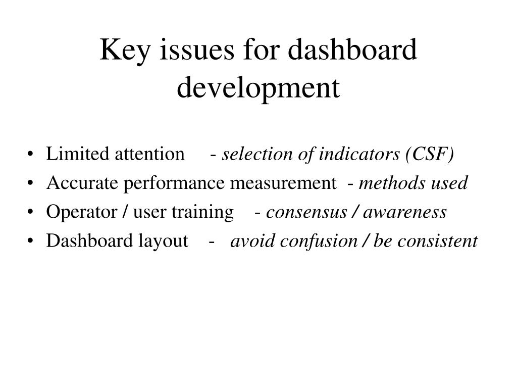 Key issues for dashboard development