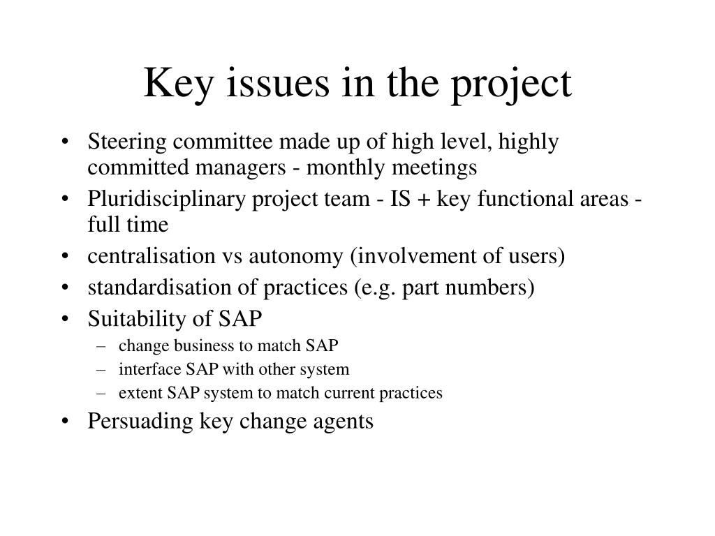 Key issues in the project