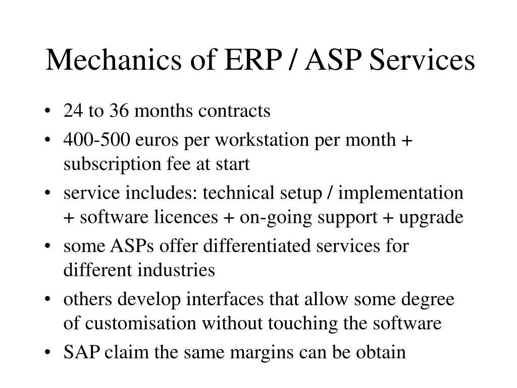Mechanics of ERP / ASP Services