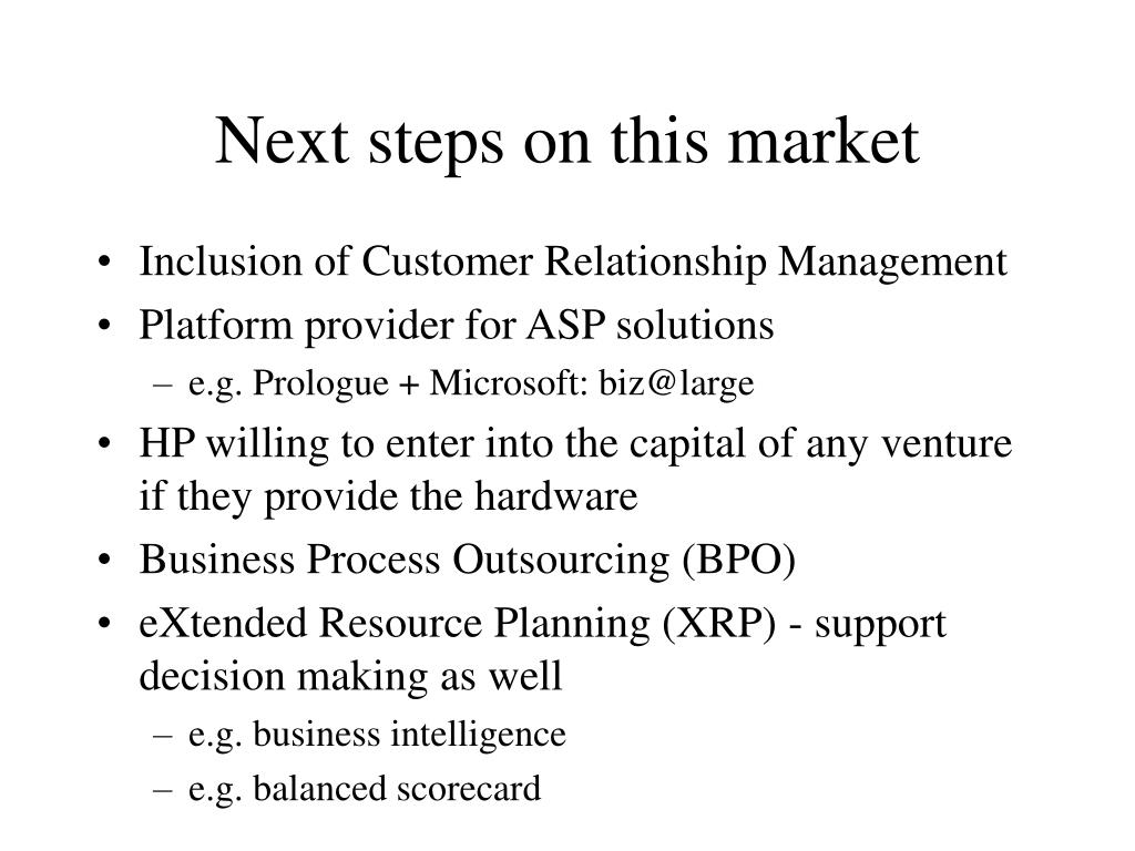 Next steps on this market