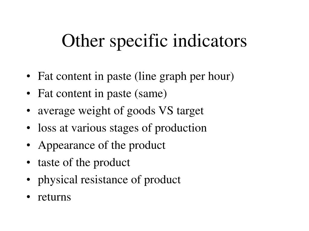 Other specific indicators