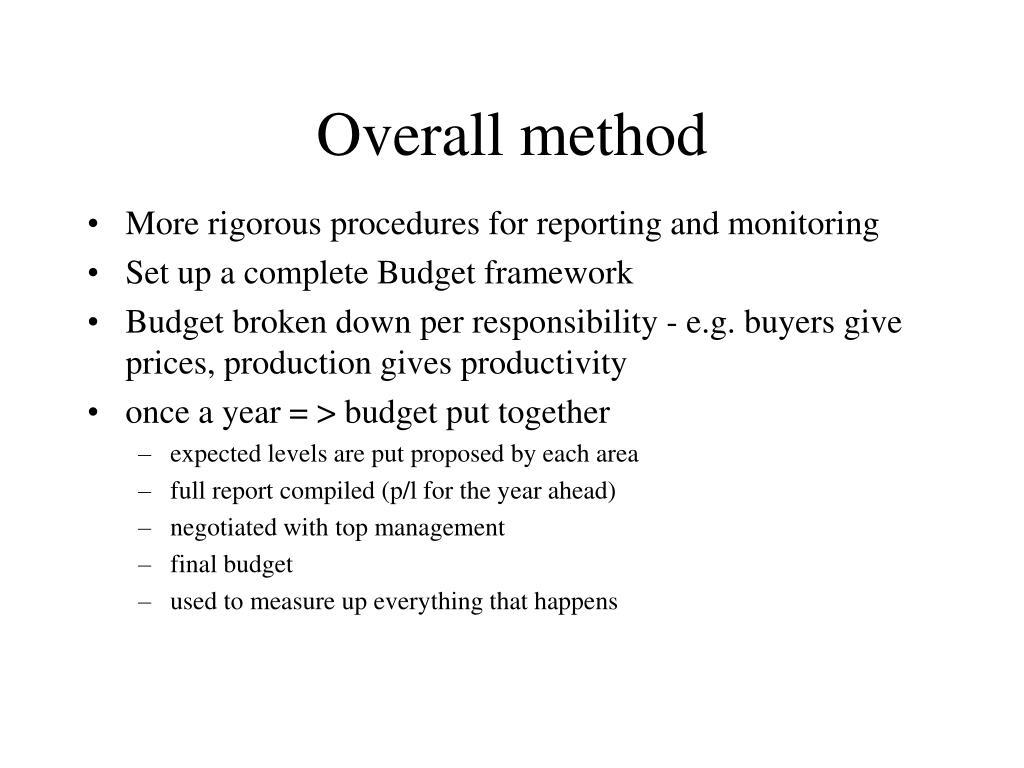 Overall method