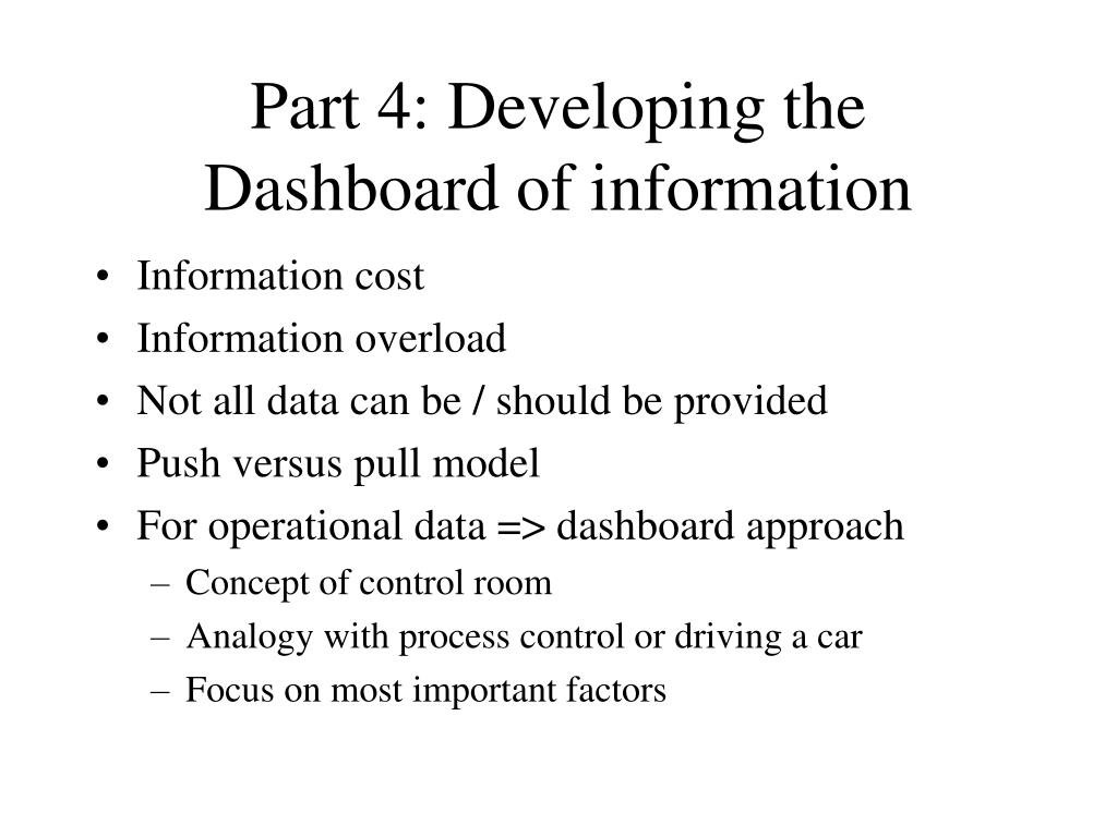 Part 4: Developing the Dashboard of information