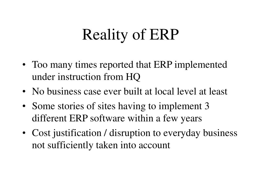 Reality of ERP
