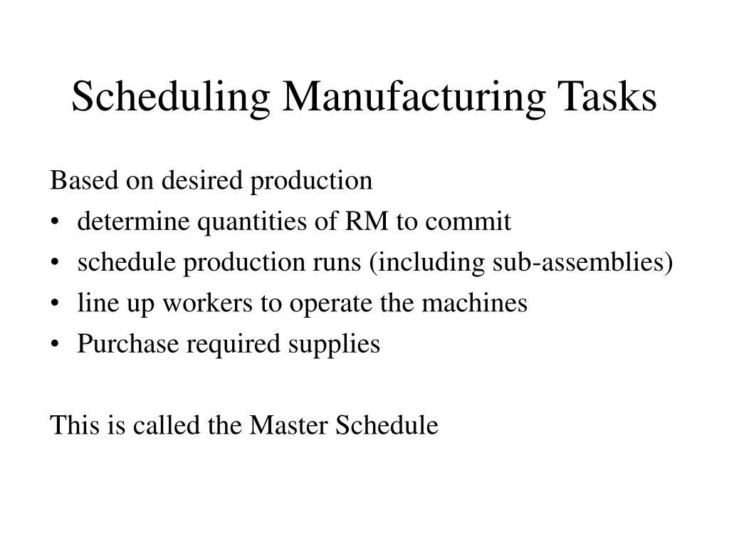 Scheduling Manufacturing Tasks