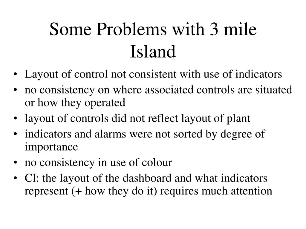 Some Problems with 3 mile Island