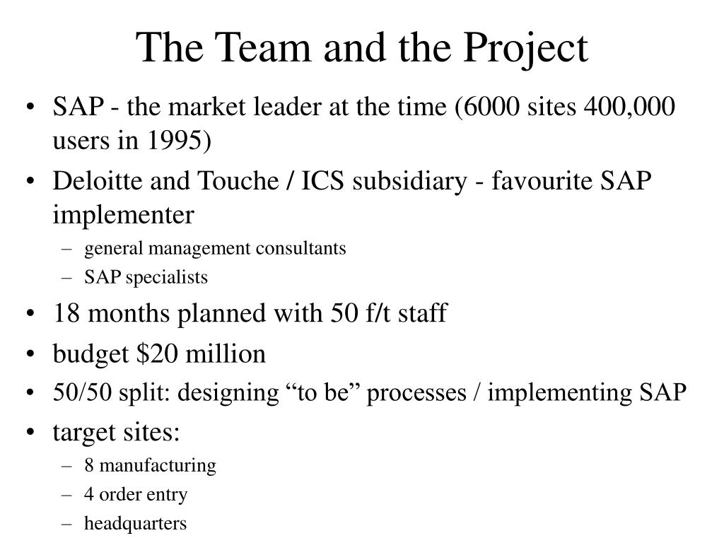 The Team and the Project