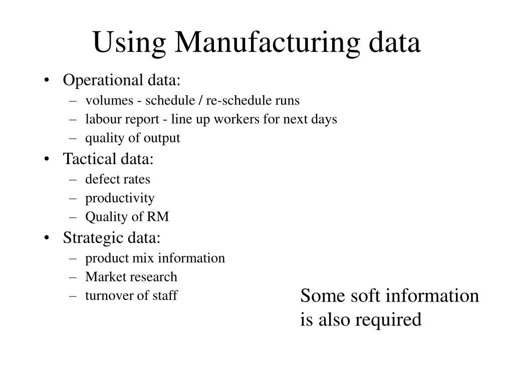 Using Manufacturing data